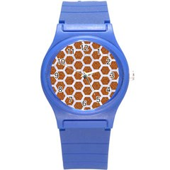 Hexagon2 White Marble & Rusted Metal Round Plastic Sport Watch (s) by trendistuff