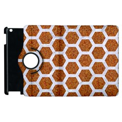 Hexagon2 White Marble & Rusted Metal Apple Ipad 2 Flip 360 Case by trendistuff