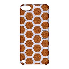 Hexagon2 White Marble & Rusted Metal Apple Ipod Touch 5 Hardshell Case With Stand by trendistuff