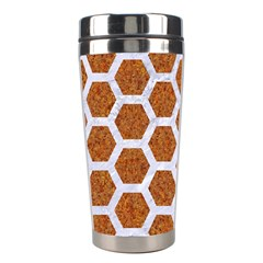 Hexagon2 White Marble & Rusted Metal Stainless Steel Travel Tumblers by trendistuff