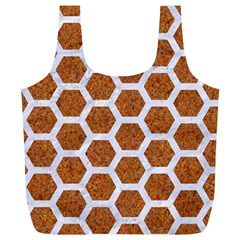 Hexagon2 White Marble & Rusted Metal Full Print Recycle Bags (l)  by trendistuff