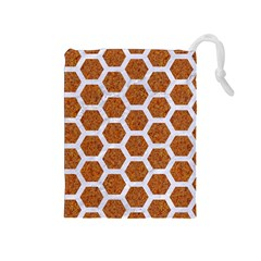 Hexagon2 White Marble & Rusted Metal Drawstring Pouches (medium)  by trendistuff