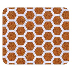 Hexagon2 White Marble & Rusted Metal Double Sided Flano Blanket (small)  by trendistuff