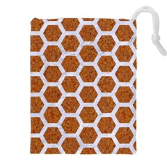 Hexagon2 White Marble & Rusted Metal Drawstring Pouches (xxl) by trendistuff