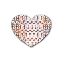 Hexagon1 White Marble & Rusted Metal (r) Heart Coaster (4 Pack)  by trendistuff