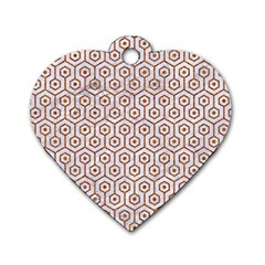 Hexagon1 White Marble & Rusted Metal (r) Dog Tag Heart (two Sides) by trendistuff