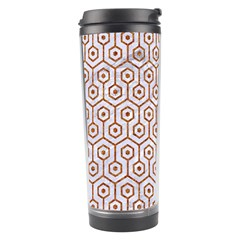 Hexagon1 White Marble & Rusted Metal (r) Travel Tumbler by trendistuff