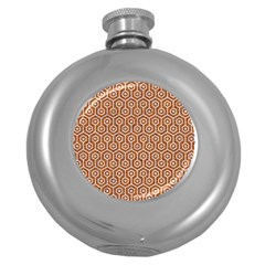 Hexagon1 White Marble & Rusted Metal Round Hip Flask (5 Oz) by trendistuff