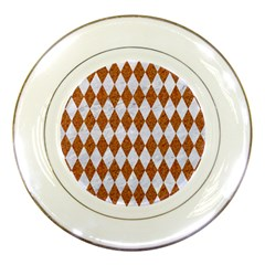 Diamond1 White Marble & Rusted Metal Porcelain Plates