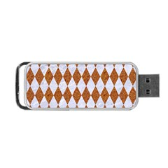 Diamond1 White Marble & Rusted Metal Portable Usb Flash (one Side) by trendistuff