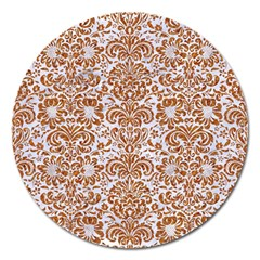 Damask2 White Marble & Rusted Metal (r) Magnet 5  (round) by trendistuff