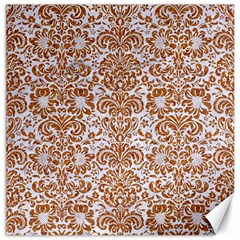 Damask2 White Marble & Rusted Metal (r) Canvas 16  X 16   by trendistuff