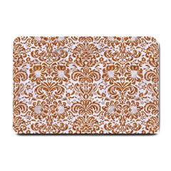Damask2 White Marble & Rusted Metal (r) Small Doormat  by trendistuff