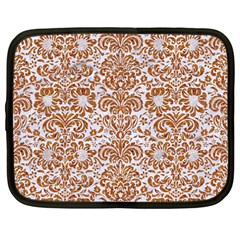 Damask2 White Marble & Rusted Metal (r) Netbook Case (large) by trendistuff
