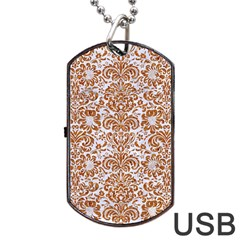 Damask2 White Marble & Rusted Metal (r) Dog Tag Usb Flash (two Sides) by trendistuff