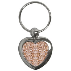 Damask2 White Marble & Rusted Metal Key Chains (heart)  by trendistuff