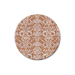Damask2 White Marble & Rusted Metal Magnet 3  (round) by trendistuff