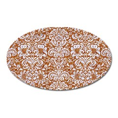 Damask2 White Marble & Rusted Metal Oval Magnet by trendistuff