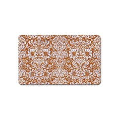 Damask2 White Marble & Rusted Metal Magnet (name Card) by trendistuff