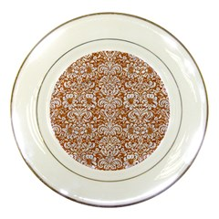 Damask2 White Marble & Rusted Metal Porcelain Plates by trendistuff
