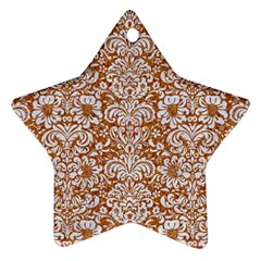 Damask2 White Marble & Rusted Metal Star Ornament (two Sides) by trendistuff