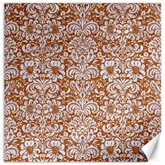 Damask2 White Marble & Rusted Metal Canvas 12  X 12   by trendistuff