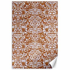 Damask2 White Marble & Rusted Metal Canvas 20  X 30   by trendistuff