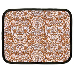 Damask2 White Marble & Rusted Metal Netbook Case (large) by trendistuff
