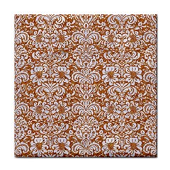 Damask2 White Marble & Rusted Metal Face Towel by trendistuff