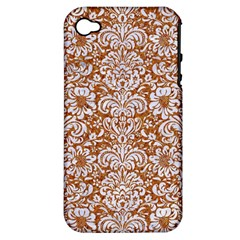 Damask2 White Marble & Rusted Metal Apple Iphone 4/4s Hardshell Case (pc+silicone) by trendistuff