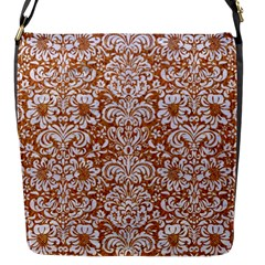 Damask2 White Marble & Rusted Metal Flap Messenger Bag (s) by trendistuff