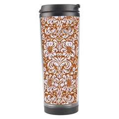 Damask2 White Marble & Rusted Metal Travel Tumbler by trendistuff