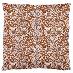 Damask2 White Marble & Rusted Metal Large Flano Cushion Case (two Sides) by trendistuff