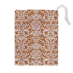 Damask2 White Marble & Rusted Metal Drawstring Pouches (extra Large) by trendistuff