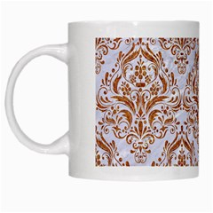 Damask1 White Marble & Rusted Metal (r) White Mugs by trendistuff