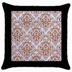 Damask1 White Marble & Rusted Metal (r) Throw Pillow Case (black) by trendistuff