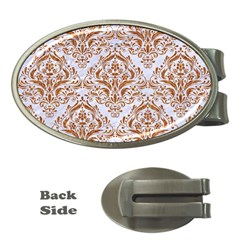 Damask1 White Marble & Rusted Metal (r) Money Clips (oval)  by trendistuff