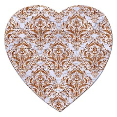 Damask1 White Marble & Rusted Metal (r) Jigsaw Puzzle (heart) by trendistuff