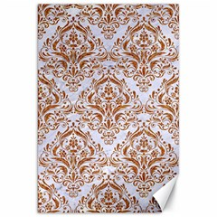 Damask1 White Marble & Rusted Metal (r) Canvas 20  X 30   by trendistuff