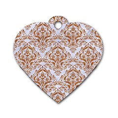 Damask1 White Marble & Rusted Metal (r) Dog Tag Heart (two Sides) by trendistuff