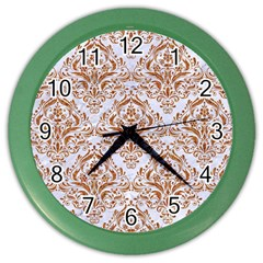 Damask1 White Marble & Rusted Metal (r) Color Wall Clocks by trendistuff