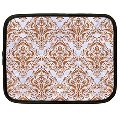 Damask1 White Marble & Rusted Metal (r) Netbook Case (large) by trendistuff