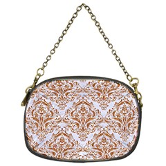 Damask1 White Marble & Rusted Metal (r) Chain Purses (one Side)  by trendistuff