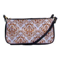 Damask1 White Marble & Rusted Metal (r) Shoulder Clutch Bags by trendistuff