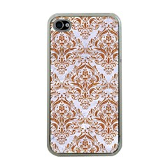 Damask1 White Marble & Rusted Metal (r) Apple Iphone 4 Case (clear) by trendistuff