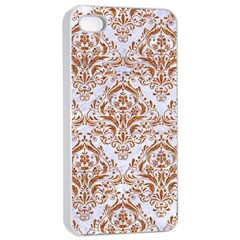 Damask1 White Marble & Rusted Metal (r) Apple Iphone 4/4s Seamless Case (white) by trendistuff