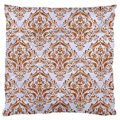 Damask1 White Marble & Rusted Metal (r) Large Cushion Case (one Side) by trendistuff
