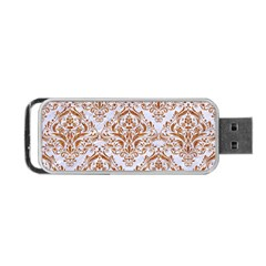 Damask1 White Marble & Rusted Metal (r) Portable Usb Flash (one Side) by trendistuff