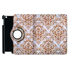 Damask1 White Marble & Rusted Metal (r) Apple Ipad 2 Flip 360 Case by trendistuff
