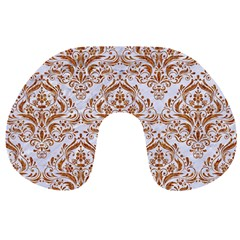 Damask1 White Marble & Rusted Metal (r) Travel Neck Pillows by trendistuff